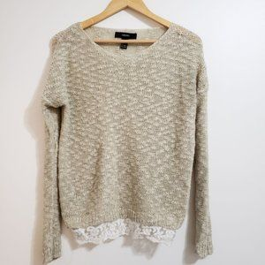 Forever 21 Lace Trimmed Knit Layering Sweater